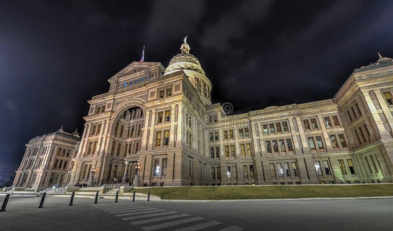 得克萨斯状态国会大厦大厦,夜 免版税库存照片