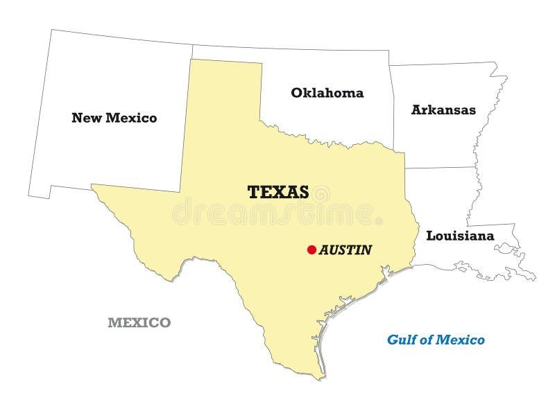得克萨斯状态地图以邻国 向量例证