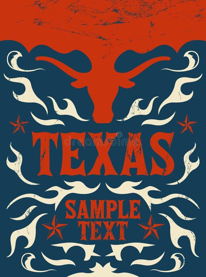 得克萨斯西部葡萄酒的海报-卡片- -牛仔 库存例证