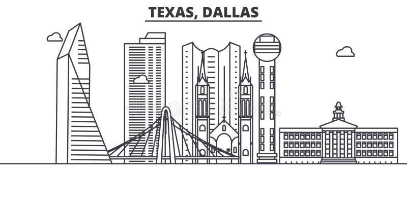 得克萨斯达拉斯建筑学线地平线例证 与著名地标的线性传染媒介都市风景,城市视域,设计 皇族释放例证
