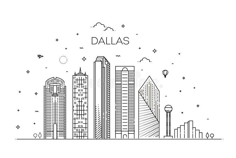 得克萨斯达拉斯建筑学线地平线例证 与著名地标的线性传染媒介都市风景 向量例证