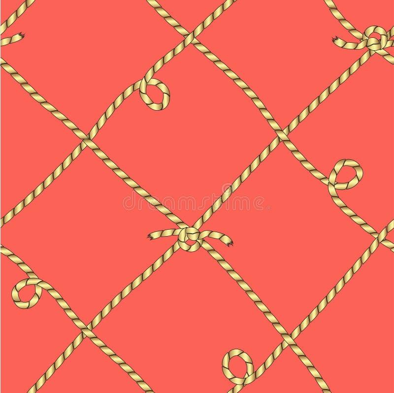 得出以栅格的形式从被栓的金黄绳子 无缝的颜色传染媒介 向量例证