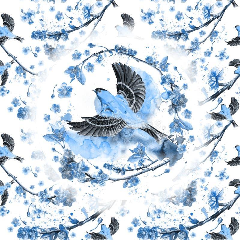 得出在春天,热,奥廖拉诺飞行一个象麻雀的舰队的鸟的例证题材的水彩无缝的样式  皇族释放例证