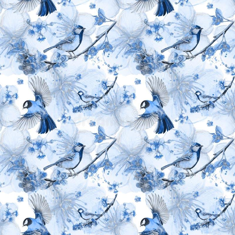 得出在春天,热,雀形目鸟型大山雀队伍的鸟的例证题材的水彩无缝的样式  向量例证