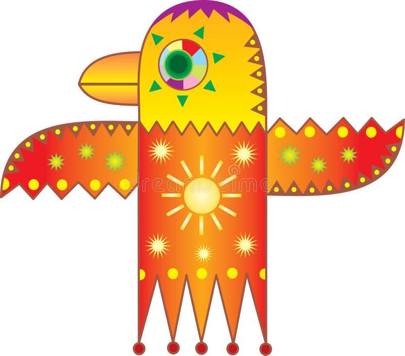 得出太阳象征性的鸟 库存例证
