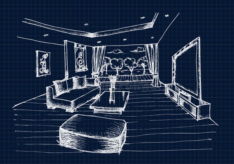 得出客厅的手室内设计 向量例证