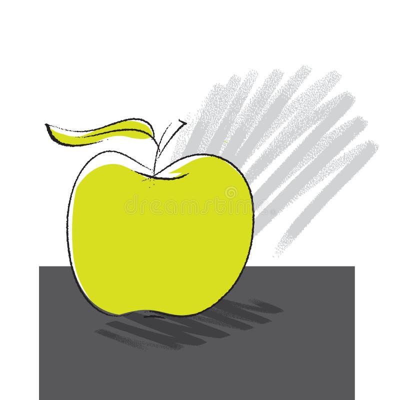 得出徒手画的图标的苹果 库存例证