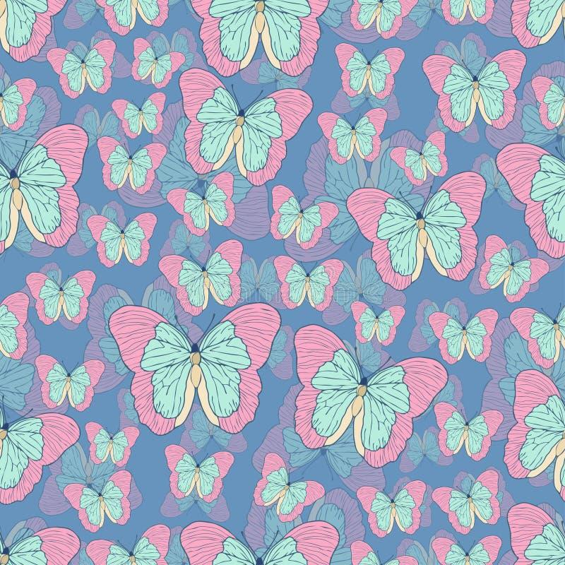 得出无缝的样式,传染媒介背景的蝴蝶动画片 抽象与粉红彩笔绿松石的被画的昆虫在蓝色b飞过 皇族释放例证