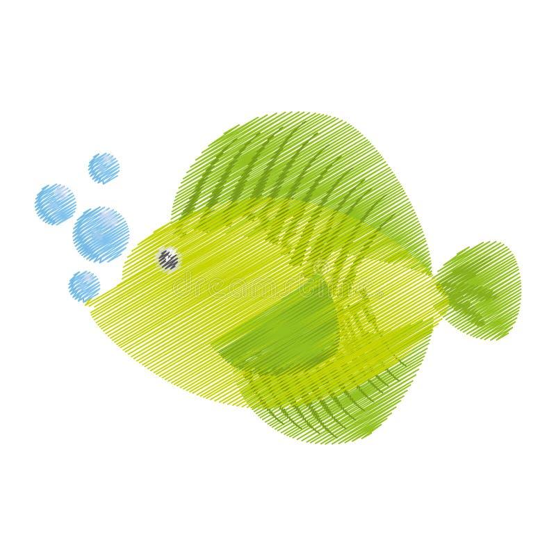 得出热带鱼海洋生活泡影的手 皇族释放例证