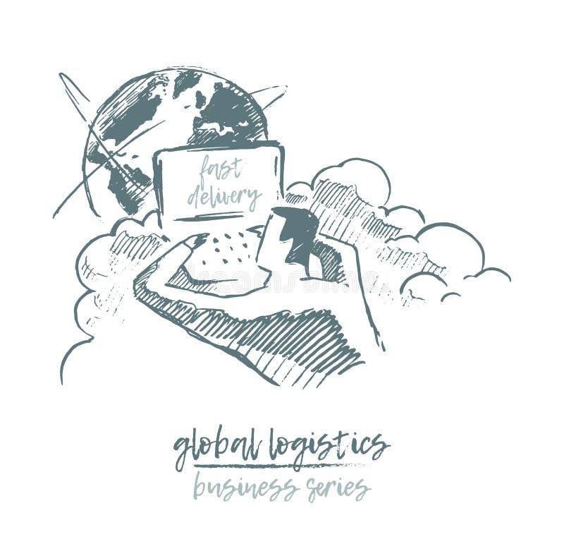 得出的企业概念全球性后勤学传染媒介 库存例证