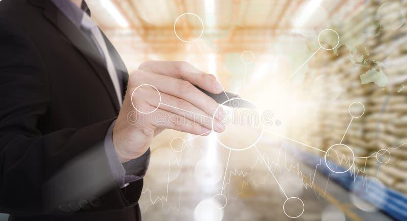 得出管理的手空白的流程图 免版税库存图片