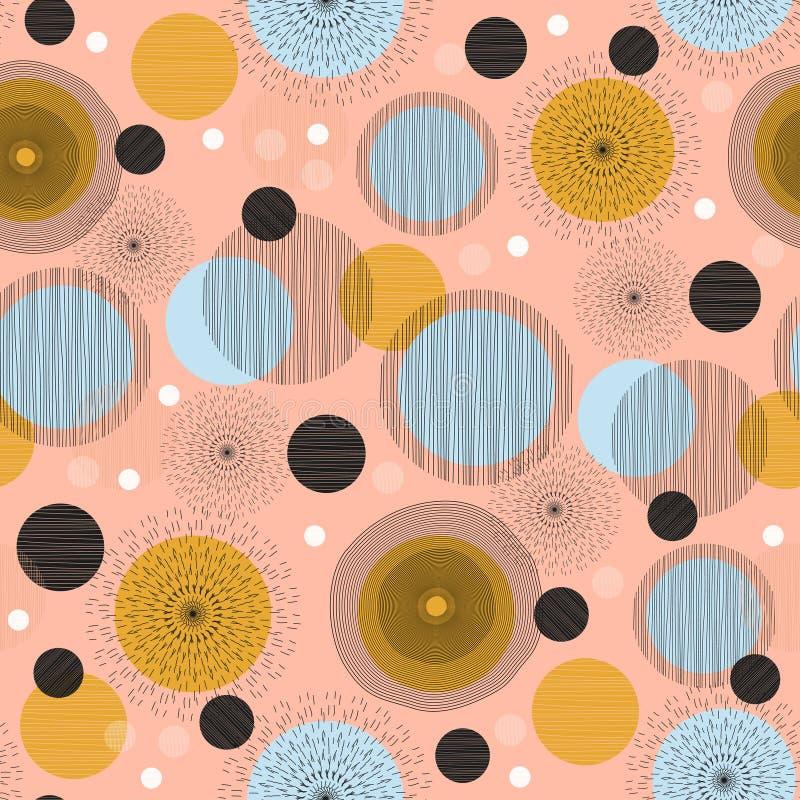 得出背景墙纸设计传染媒介例证的圈子抽象手拉的无缝的样式斯堪的纳维亚颜色准备好为 向量例证