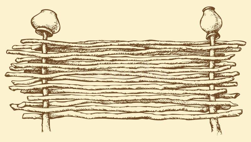 得出花卉草向量的背景 有老罐的柳条篱芭 向量例证