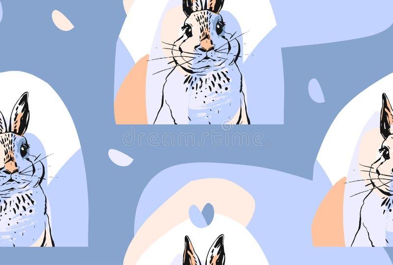 得出逗人喜爱的无缝的样式用在淡色的现实兔子的手拉的传染媒介摘要拼贴画 复活节 库存例证
