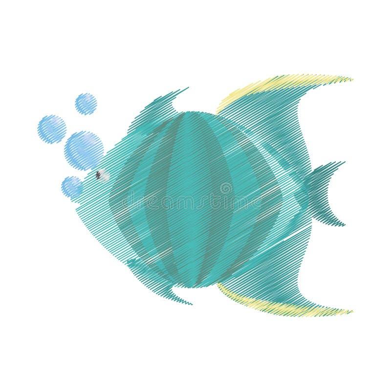 得出绿色鱼海洋种类泡影的手 库存例证