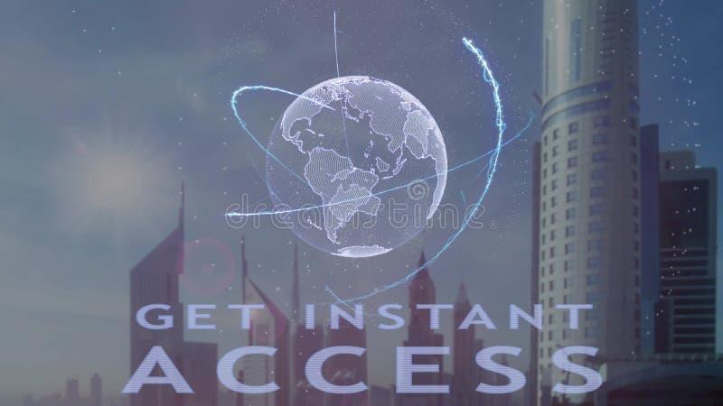 得到与3d行星地球的全息图的立即通入文本反对现代大都会的背景 库存例证