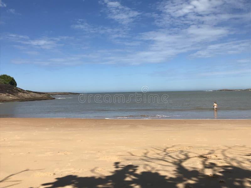 得到在一个海滩的水中的妇女在圣埃斯皮里图,巴西 免版税库存照片