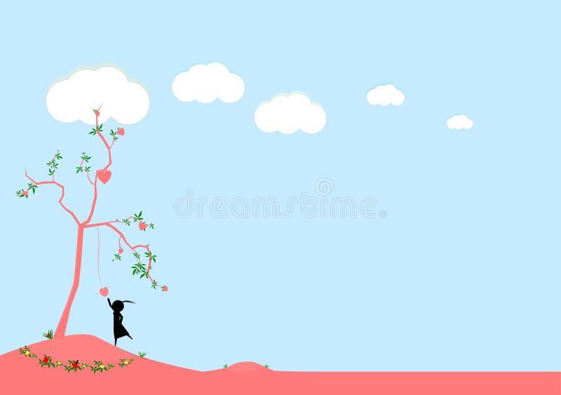 得到在树的一些心脏的女孩尝试与例证图画 免版税库存图片