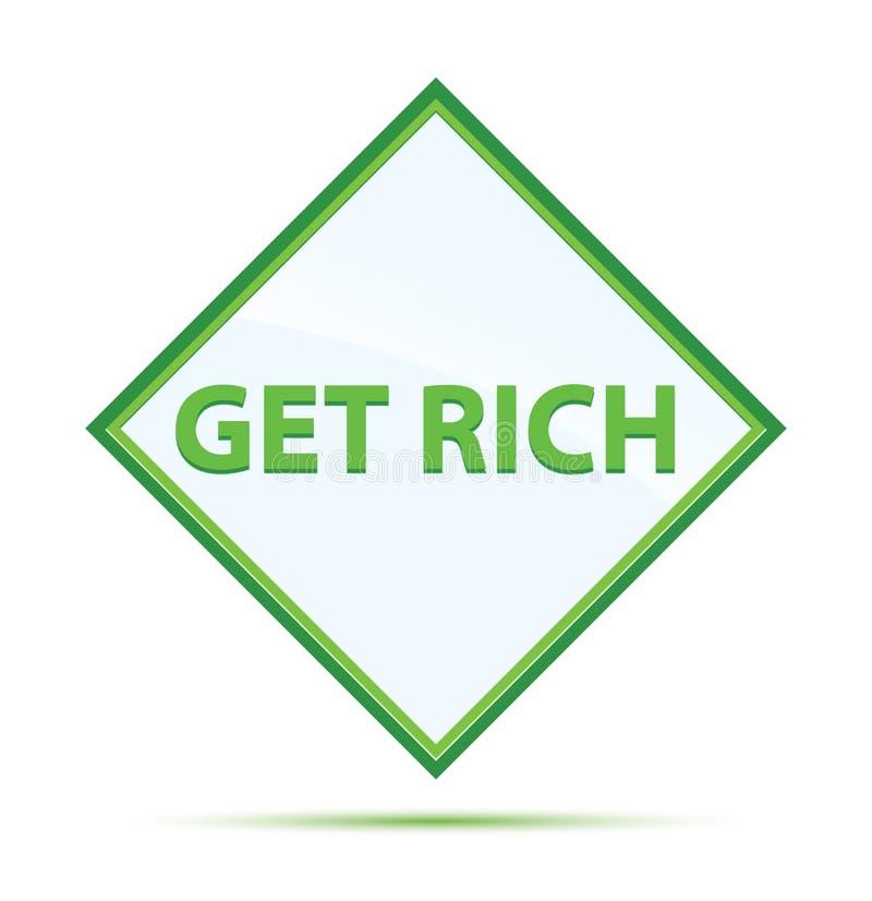 得到富有的现代抽象绿色金刚石按钮 向量例证