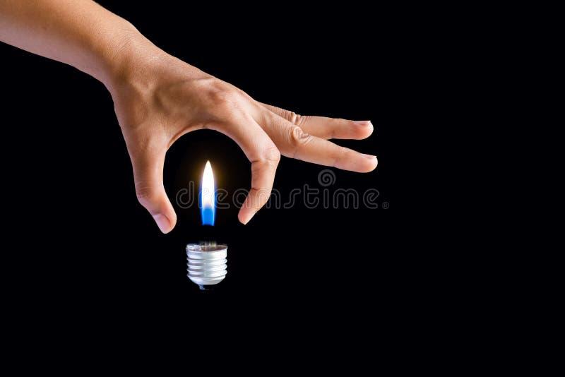 得到想法概念 拿着电灯泡的女商人手 免版税库存照片