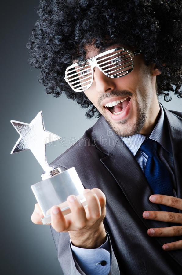 得到星奖的歌手 图库摄影