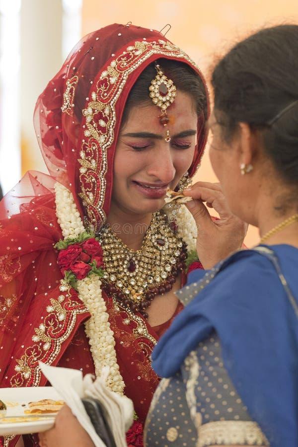 得到的新娘情感在她的婚礼 库存照片