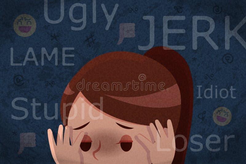 得到网络胁迫的哀伤的女孩 向量例证
