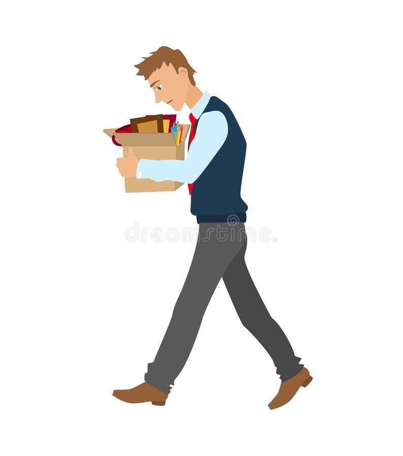 得到被射击的平的传染媒介例证 从工作遣散的人同行陪一个箱子个人财产 向量例证