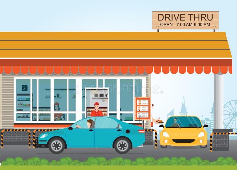 得到食物的两辆汽车在驱动通过餐馆 向量例证