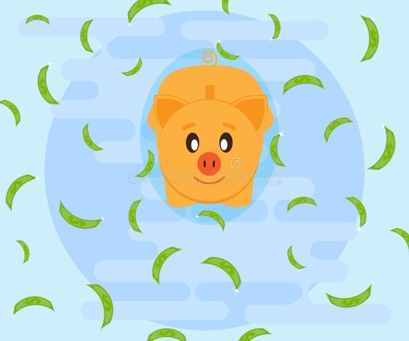 得到财富获取 游泳在金钱 在愉快的猪piggybank的钞票图片