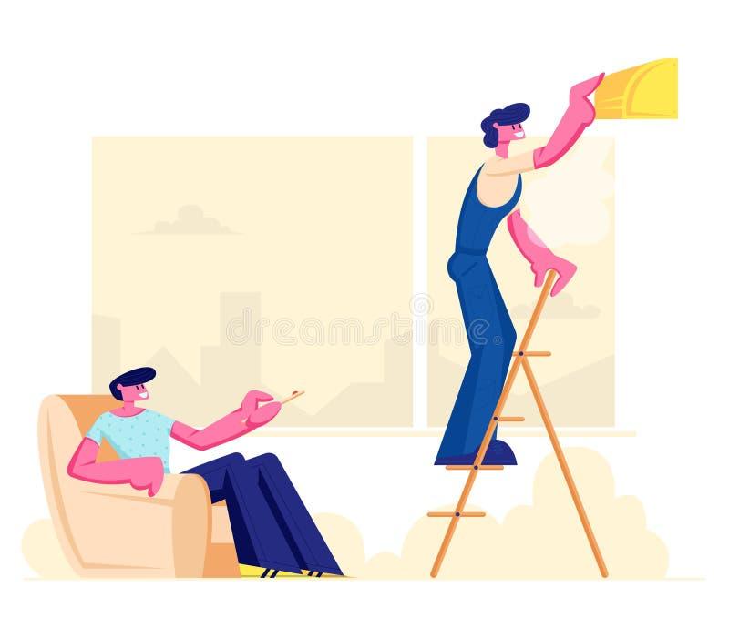 得心应手的在家站立在梯子的人固定的残破的调节剂,所有者坐扶手椅子,修理服务固定的残破的技术 皇族释放例证