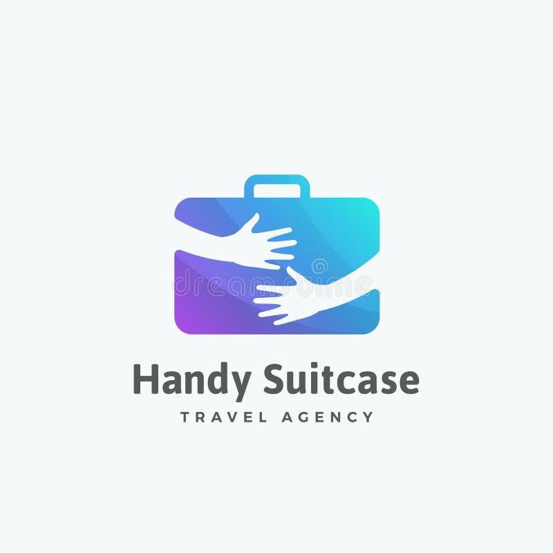 得心应手的手提箱旅行社摘要传染媒介标志、象征或者商标模板 在手概念的旅游行李 皇族释放例证