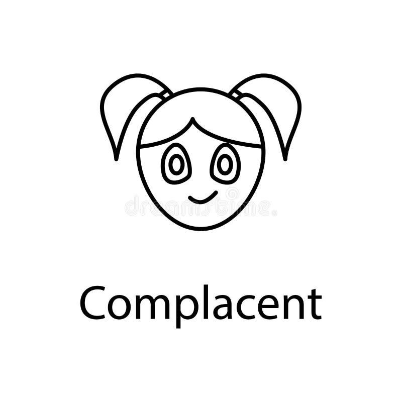 得意洋洋的女孩面孔象 情感的元素流动概念和网apps例证的 网站设计的稀薄的线象和 库存例证
