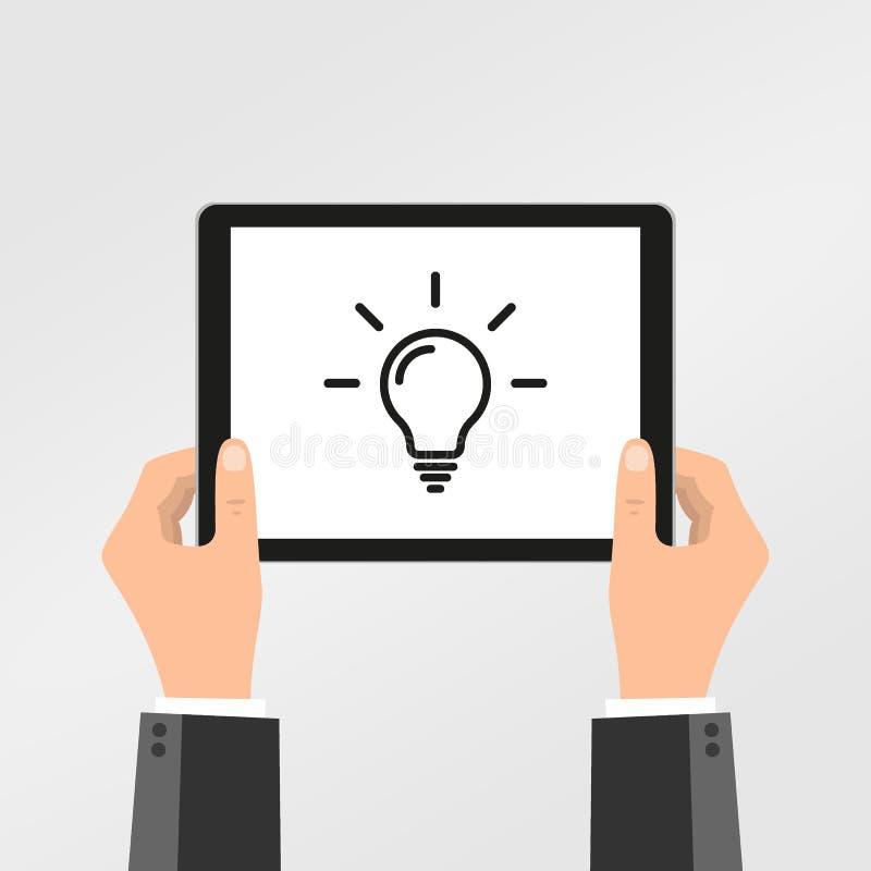 得知在网上创造性思为的平的设计观念与手举行片剂 传染媒介说明 库存例证