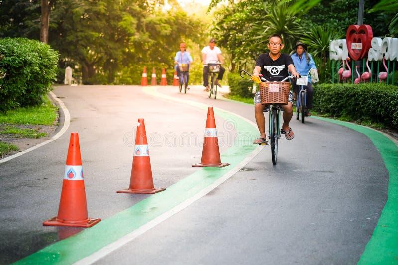 循环在公园的人们 免版税库存图片