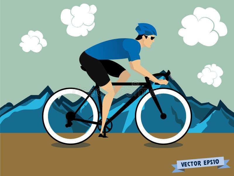 循环在山的骑自行车的人运动员图形设计传染媒介 向量例证