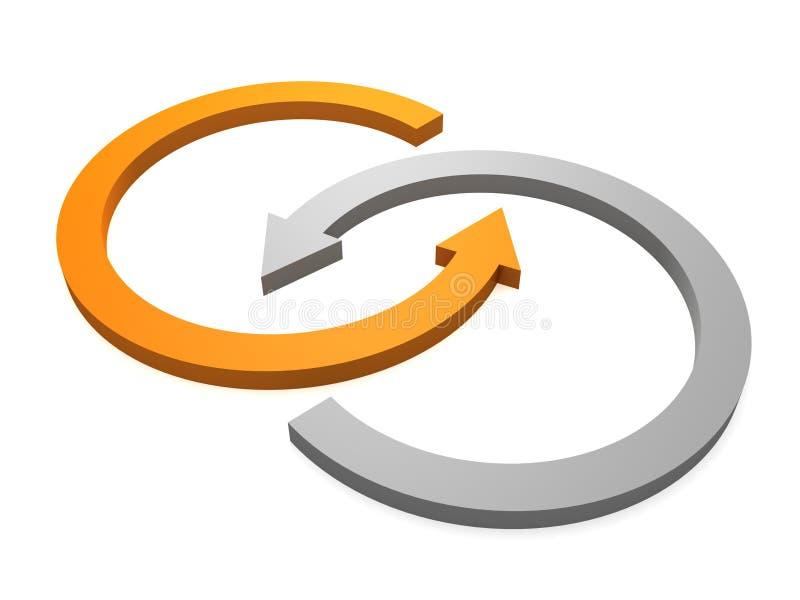循环灰色相交的桔子二的箭头 库存例证
