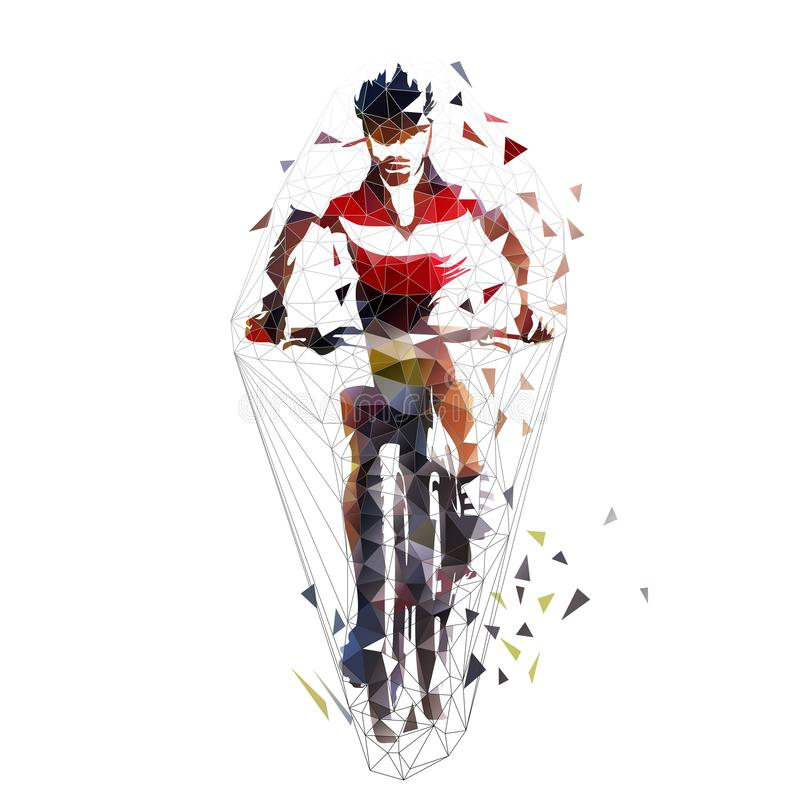 循环的山,多角形mtb骑自行车的人,被隔绝的几何传染媒介例证 o 向量例证