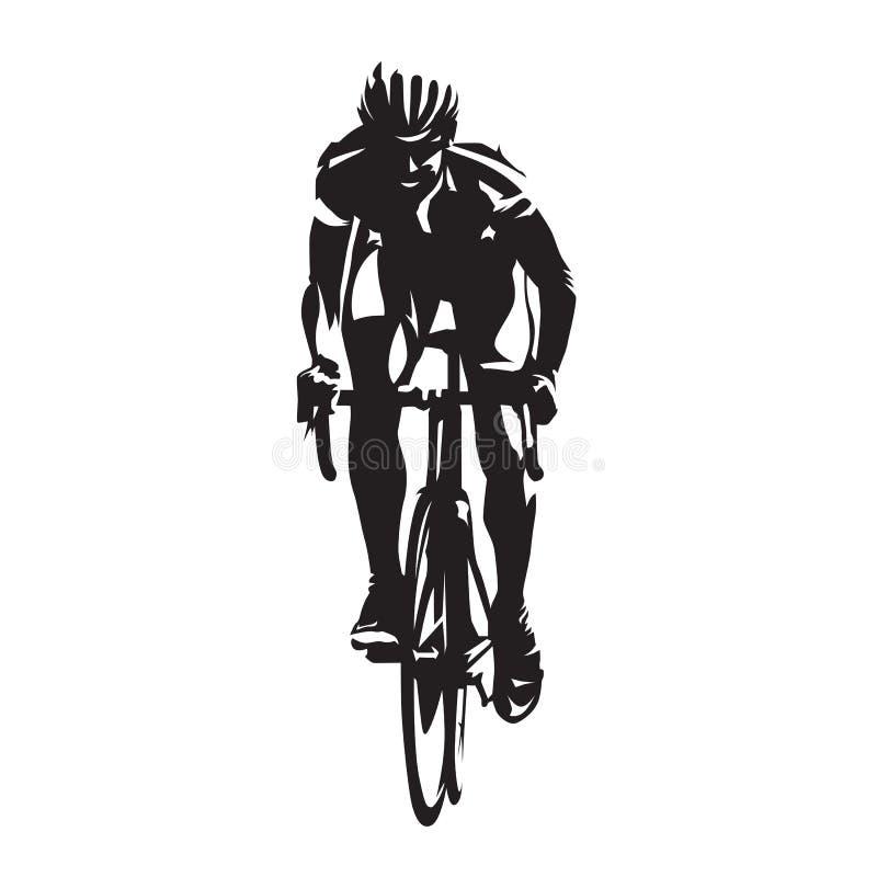 循环的路,自行车的,正面图骑自行车者 有吸引力的配件箱剪影坐的向量妇女 库存例证
