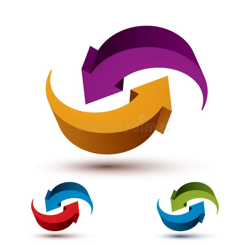 死循环箭头导航抽象符号,图形设计 向量例证
