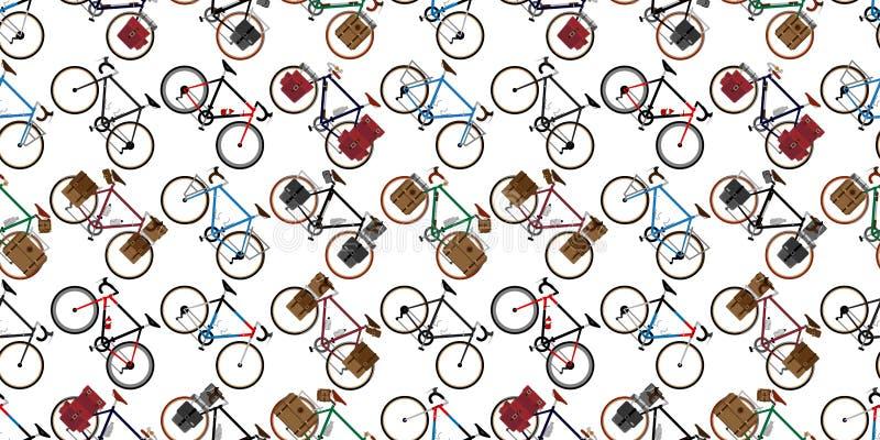 循环被隔绝的葡萄酒背景重复墙纸例证图表的自行车无缝的样式传染媒介 向量例证