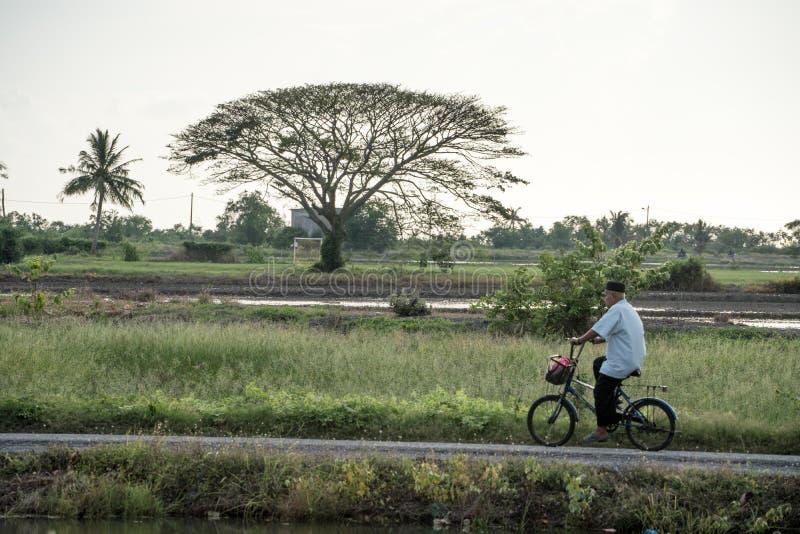 循环通过村庄的人 免版税库存图片