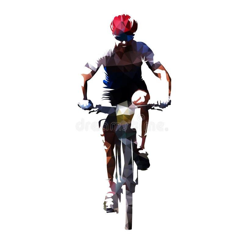 循环,他的自行车的多角形传染媒介山骑自行车的人骑自行车者, fr 皇族释放例证