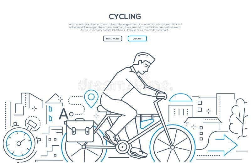 循环-现代线设计样式网横幅 皇族释放例证