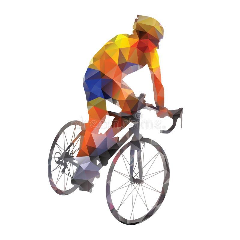 循环 他的自行车的抽象传染媒介路骑自行车者 向量例证