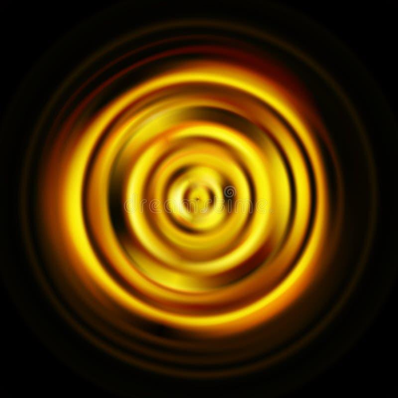 循环 转动在黑背景的金黄圆盘 库存例证