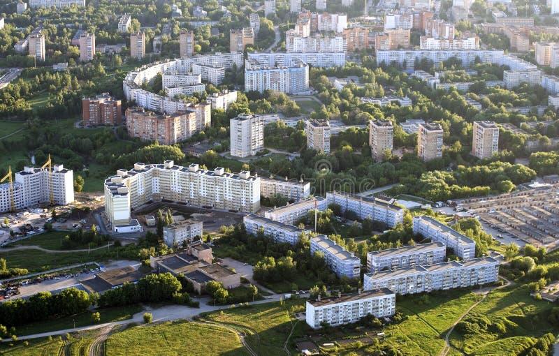 微区Moscowsky,市的顶视图梁赞 免版税库存图片