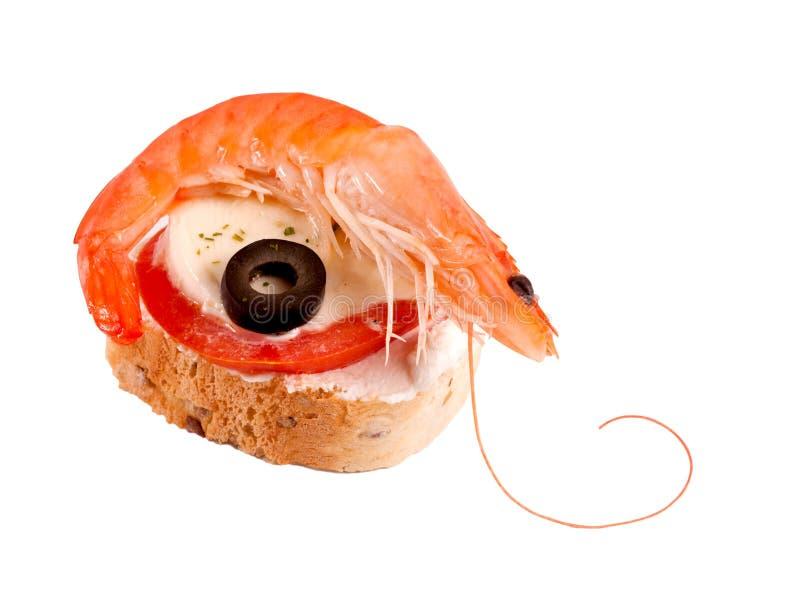 被隔绝的虾三明治 免版税库存图片