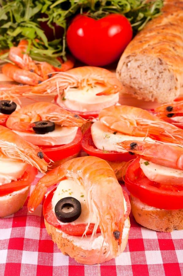 微型虾三明治 库存图片