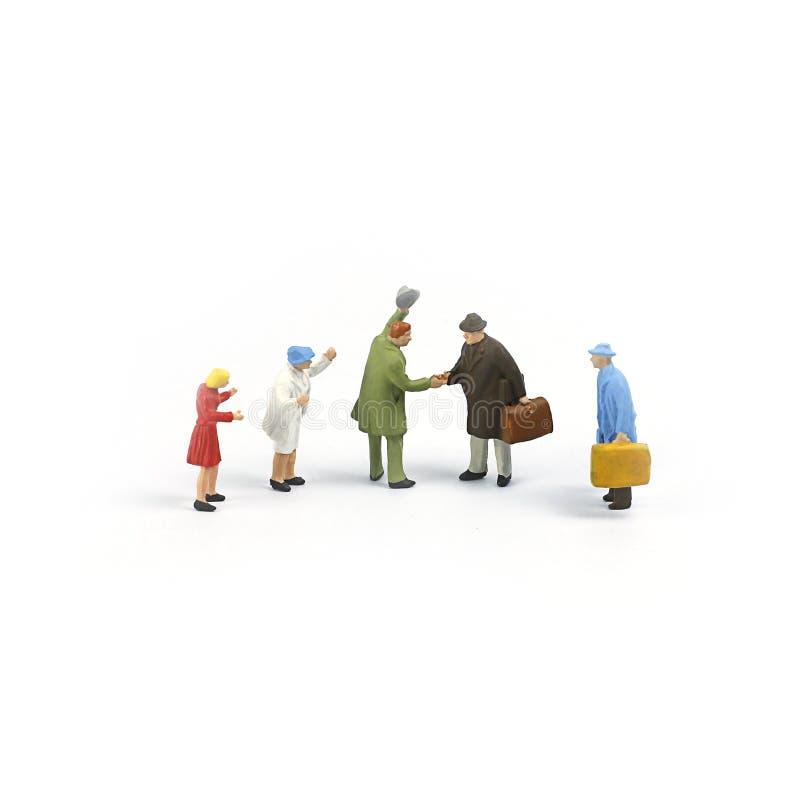 微型人形象,家庭会合点 免版税库存图片
